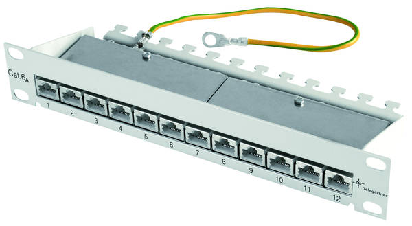 J02022A0057 TEGA J02022A0057 10 Patch Panel >255mm< MPP12-HS K Cat.6a 1HE RAL7035